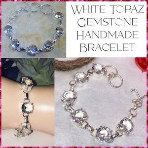 Sparkling White Topaz Handmade Tennis Bracelet